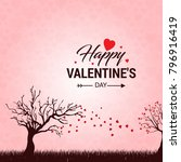 happy valentine's day card with ... | Shutterstock .eps vector #796916419