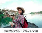 traveler young girl with... | Shutterstock . vector #796917790