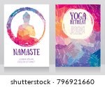 two cards for yoga studio with... | Shutterstock .eps vector #796921660