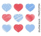 set of red and blue hearts... | Shutterstock .eps vector #796921954