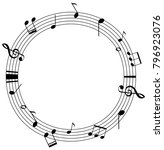 round frame template with music ... | Shutterstock .eps vector #796923076