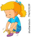 girl tying shoelaces on white... | Shutterstock .eps vector #796923139