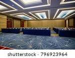 huge hall interior with carpet... | Shutterstock . vector #796923964