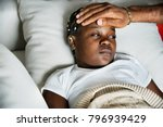 girl sleeping with sickness on... | Shutterstock . vector #796939429