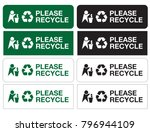 please recycle sign stickers... | Shutterstock .eps vector #796944109