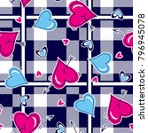 checkered pattern hitted hearts ... | Shutterstock .eps vector #796945078