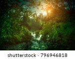 landscape of sky with sunbeams... | Shutterstock . vector #796946818
