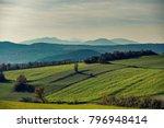 green hills landscape at sunset ... | Shutterstock . vector #796948414