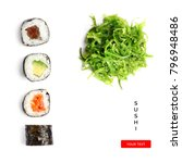 creative layout made of sushi... | Shutterstock . vector #796948486