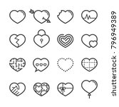 heart thin line icons 2018 | Shutterstock .eps vector #796949389