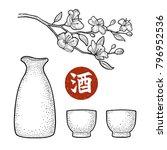 sake glass  bottle and japan...   Shutterstock .eps vector #796952536