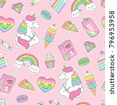 Stock vector cute pastel unicorn and dessert seamless pattern on pink background 796953958