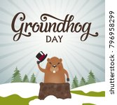 Groundhog Day Typography Vecto...