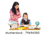 teacher woman verify schoolgirl ... | Shutterstock . vector #79696585