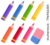 colored pencils and eraser | Shutterstock . vector #796966384