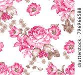 seamless rose flower pattern on ... | Shutterstock . vector #796966588