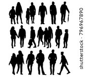 collection of silhouettes of... | Shutterstock . vector #796967890
