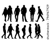 silhouettes of going people | Shutterstock . vector #796967929