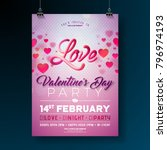 vector valentines day party... | Shutterstock .eps vector #796974193