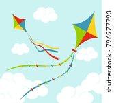 fly color kites surfing in sky... | Shutterstock .eps vector #796977793