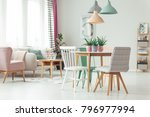 pastel apartment interior with... | Shutterstock . vector #796977994