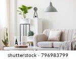 gray lamp above beige couch... | Shutterstock . vector #796983799