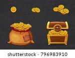 gold treasures. open old bag... | Shutterstock .eps vector #796983910
