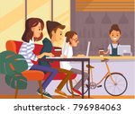 young people sitting in a coffe ... | Shutterstock .eps vector #796984063