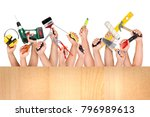 several hands together with... | Shutterstock . vector #796989613