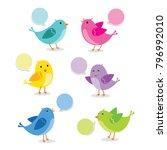 set of birds in different pose. ... | Shutterstock .eps vector #796992010