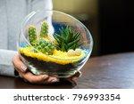 florarium in glass vase with... | Shutterstock . vector #796993354