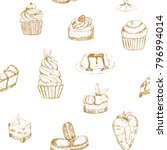 seamless pattern with sweet... | Shutterstock .eps vector #796994014