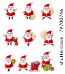 Cartoon Santa Claus Icon Set