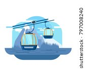 cable car on the background of... | Shutterstock .eps vector #797008240