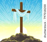 silhouette of wooden cross with ... | Shutterstock .eps vector #797018200