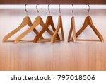 wooden coat hangers on clothes...   Shutterstock . vector #797018506