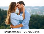beautiful couple in love... | Shutterstock . vector #797029546