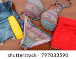 set of beachwear on wooden... | Shutterstock . vector #797033590