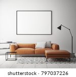 mock up poster frame in hipster ... | Shutterstock . vector #797037226
