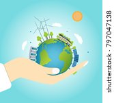 planet earth with clean energy... | Shutterstock .eps vector #797047138