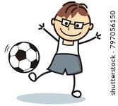 football player  boy and soccer ...   Shutterstock .eps vector #797056150