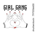 girl gang.fashion slogan for t...