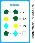 mathematics game with pictures  ... | Shutterstock .eps vector #797056678