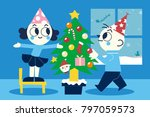 merry christmas and a happy new ... | Shutterstock .eps vector #797059573