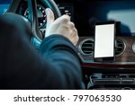 mobil navigation in car  | Shutterstock . vector #797063530