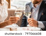 young couple with glasses of... | Shutterstock . vector #797066608