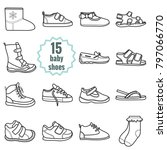 baby shoes icons set.shoes for... | Shutterstock . vector #797066770