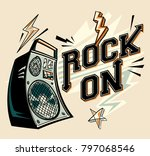 rock on   music design with... | Shutterstock .eps vector #797068546