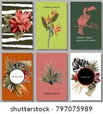 Cards Set With Tropical Leaves...