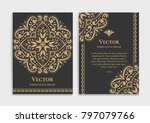 gold vintage greeting card on a ... | Shutterstock .eps vector #797079766